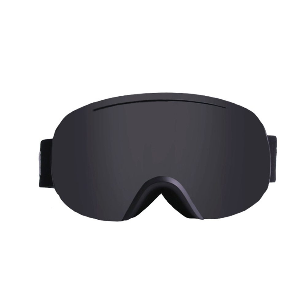Large Sphere Ski Goggles Double Layers Adult Antifog Windproof Climbing Goggles Black frame black film