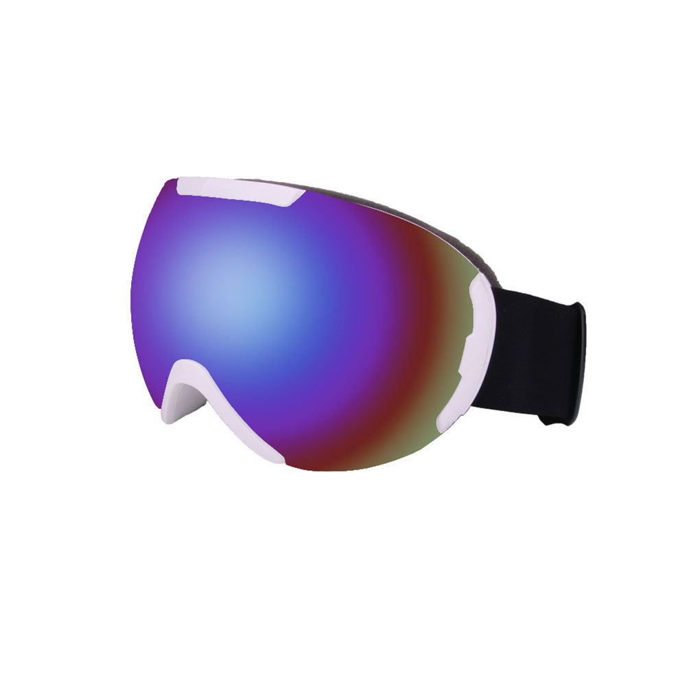 Ski Goggles with Large Spherical Double Layers Antifog Goggles Climbing Goggles for Women and Men White frame blue