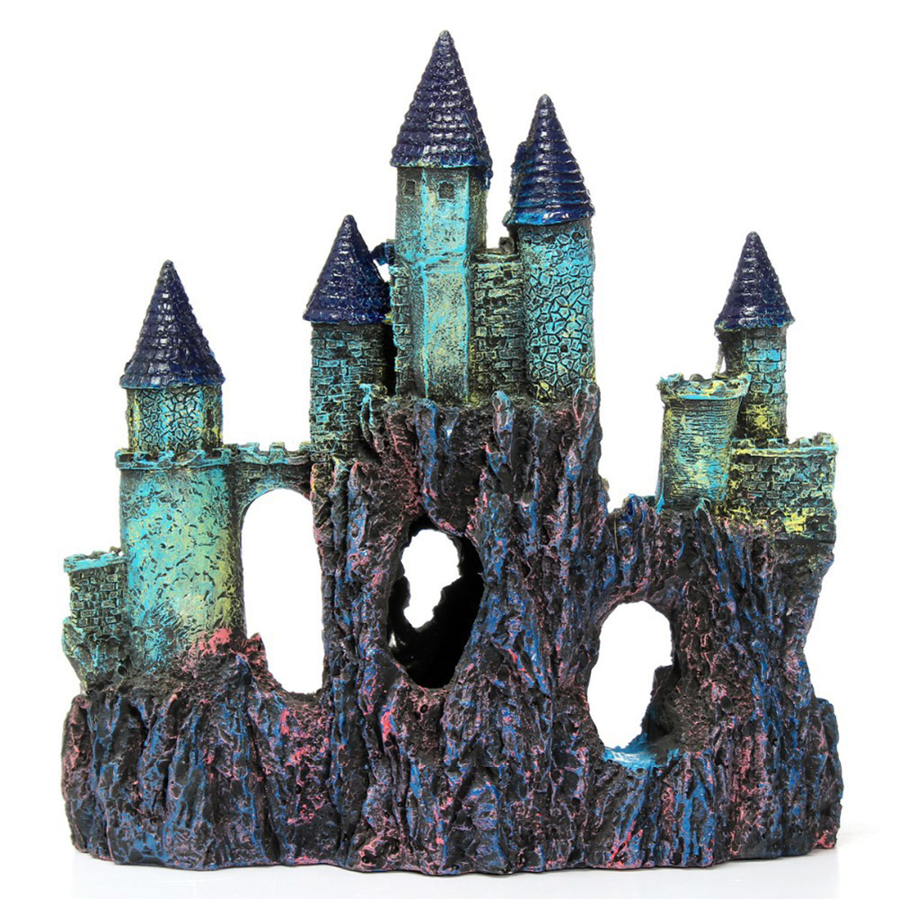 Artificial Resin Castle Shape Aquarium Fish Bowl Landscaping Cave Decoration As shown