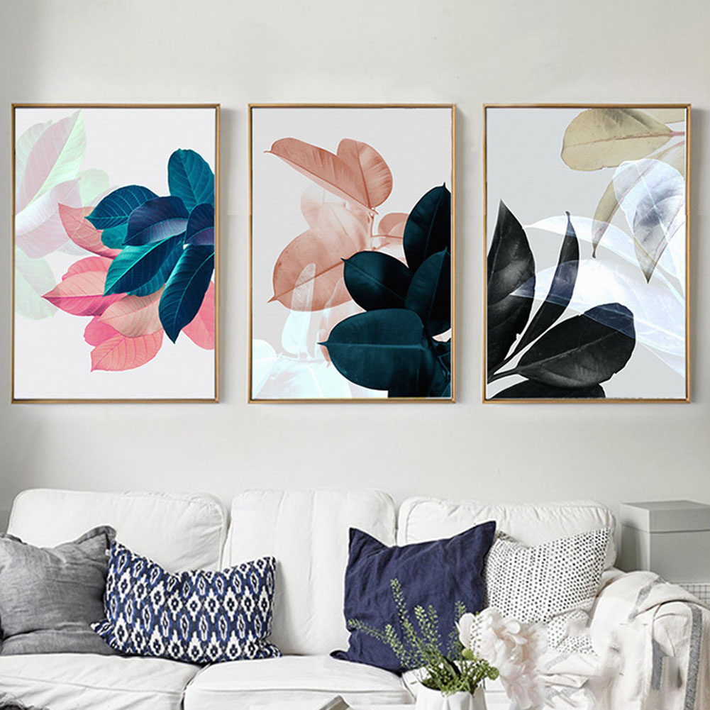 3Pcs Fashionable Leaf Pattern Canvas Wall Art Painting Printed Picture Home Office Decor 30x40cm_Wall Art Paintings