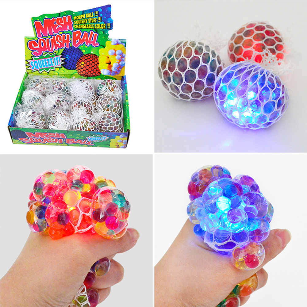 Mesh  Relieve  Stress  Ball Colored Beads Led Luminous Grape Funny Squeeze Ball Toy 6.0cm