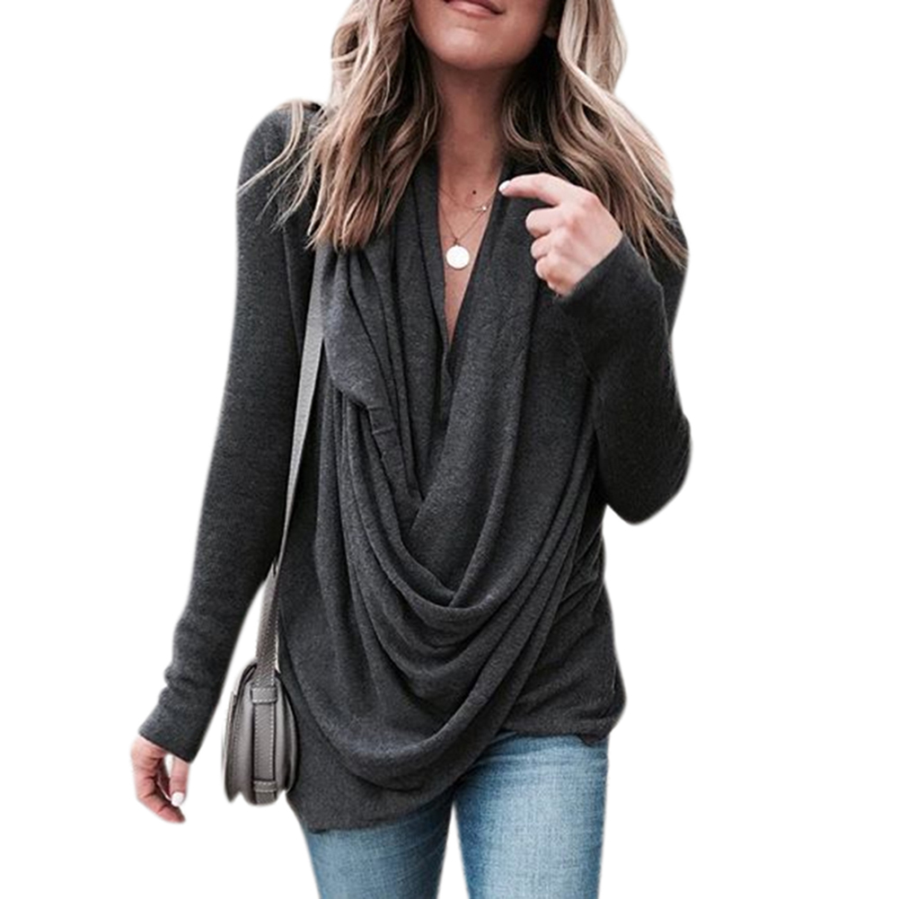 Women Casual Shirt Fashionable Heap Collar Pullover Long Sleeve Slim Fit Top black_M