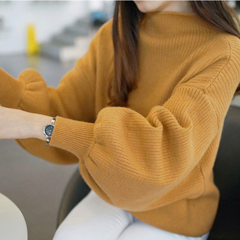 Women Casual Loose Lantern Sleeve Knitwear with Half High Neck Pullover Tops  yellow_One size