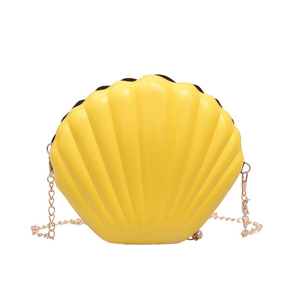 Women Chic Unique Shell Shape Chain Single-shoulder Bag yellow
