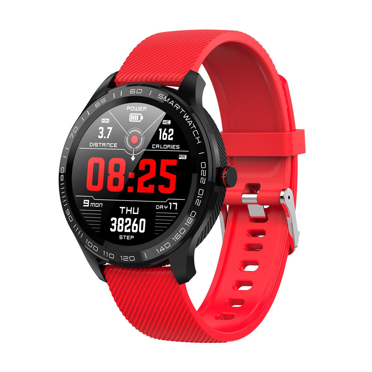 L9 Bracelet Full Round Screen Multi-Sport Heart Rate Sleep Monitoring Offline Payment Bracelet Black red