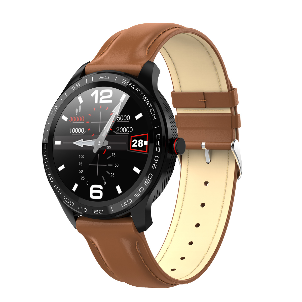 L9 Bracelet Full Round Screen Multi-Sport Heart Rate Sleep Monitoring Offline Payment Bracelet Brown leather belt