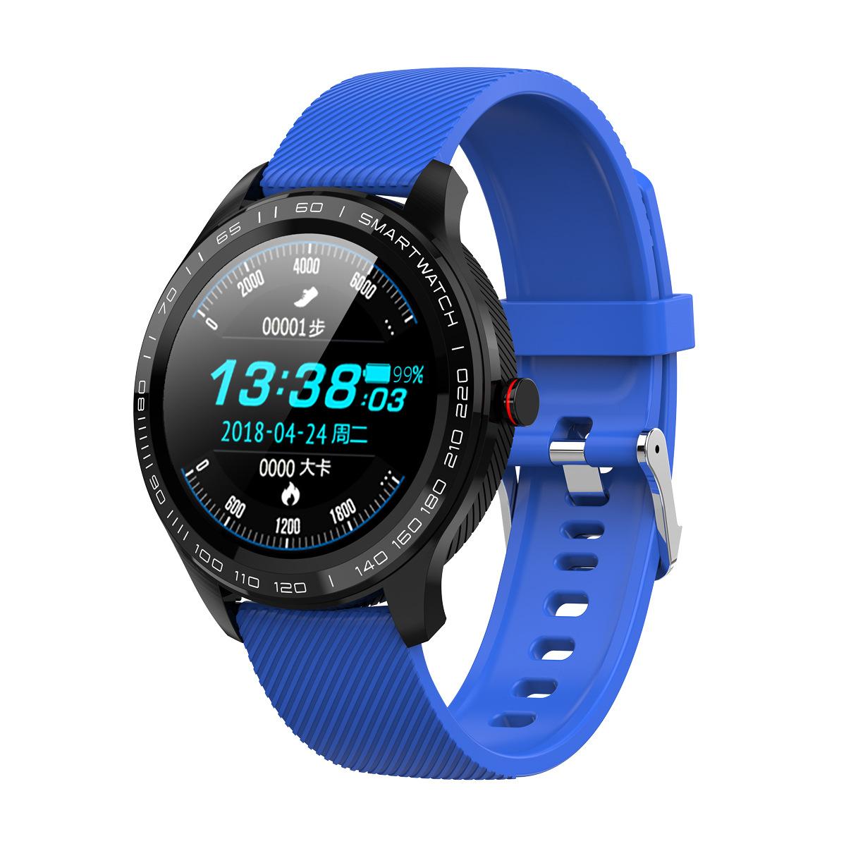 L9 Bracelet Full Round Screen Multi-Sport Heart Rate Sleep Monitoring Offline Payment Bracelet dark blue