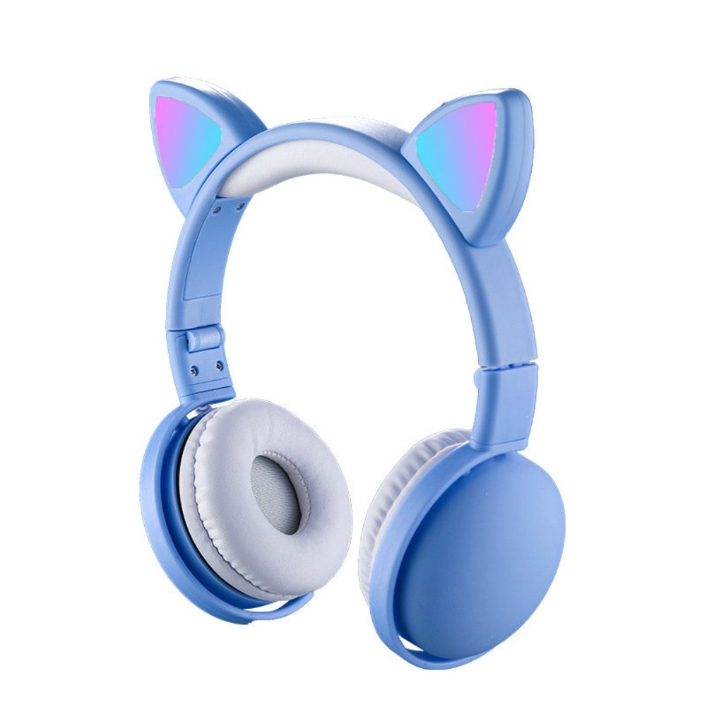 Headset Foldable Cartoon Wireless Cat Ear Headphones Light Bluetooth Headset blue
