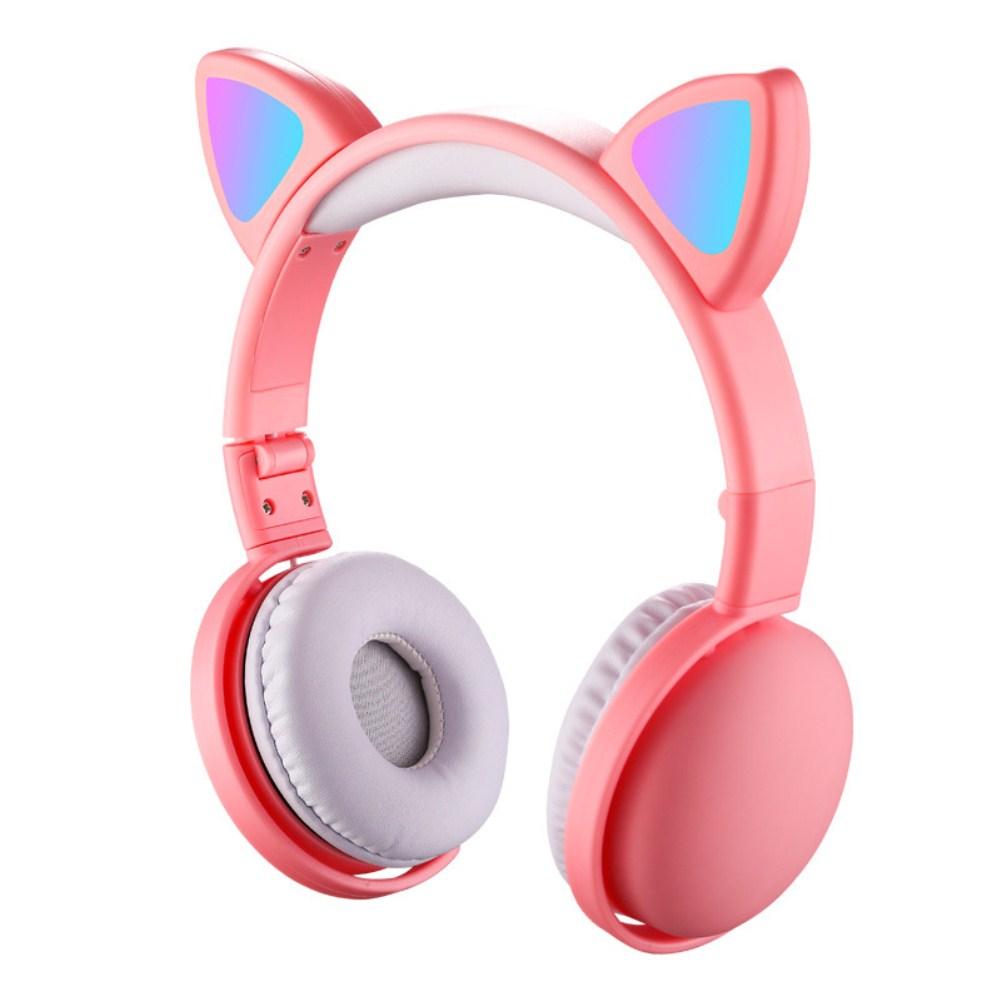 Headset Foldable Cartoon Wireless Cat Ear Headphones Light Bluetooth Headset Pink