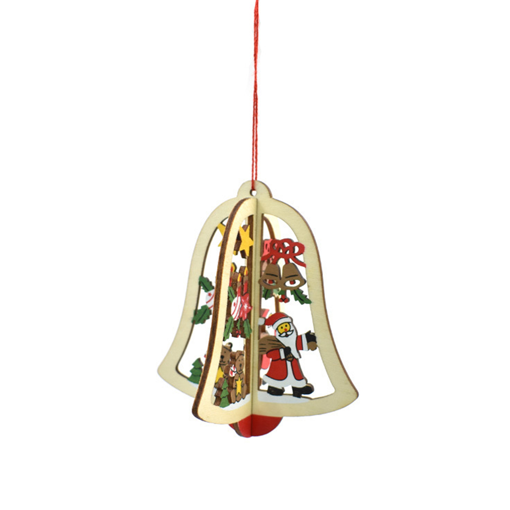 Christmas Tree Ornaments Hanging Xmas Tree Home Party Decor 3D Pendants High Quality Wooden Pendant Decoration Color Bell