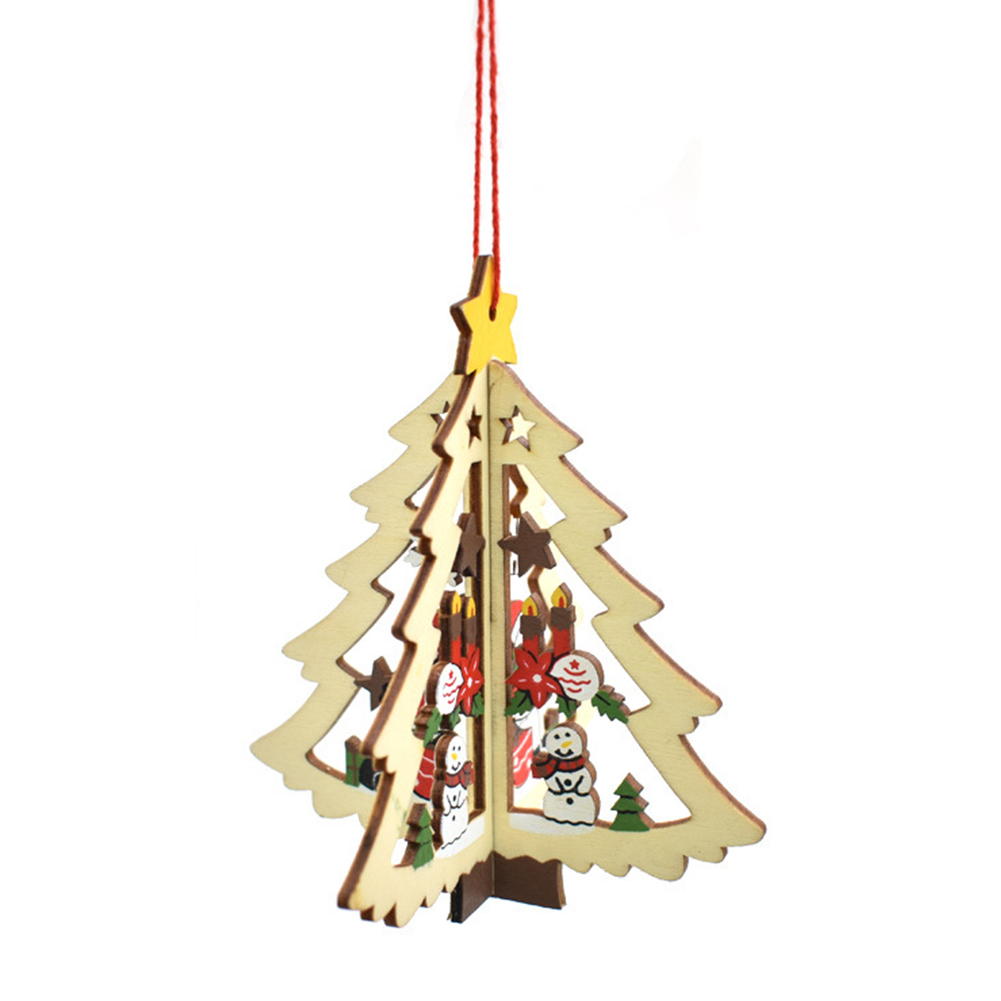 Christmas Tree Ornaments Hanging Xmas Tree Home Party Decor 3D Pendants High Quality Wooden Pendant Decoration Color Christmas tree