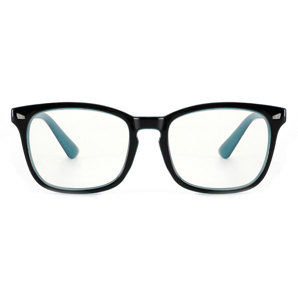 [US Direct] Cyxus Anti Blue Light Computer Glasses for Blocking UV Eye Strain Headache, Reading Eyewear (8065T01, Bright Black) Block Droplets Black on Blue_M