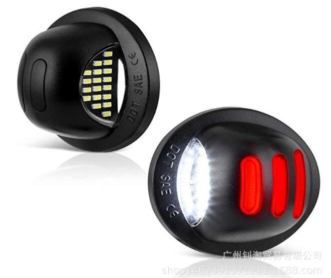 2PCS LED Car Rear License Plate Lights for Ford F150 Pickup License Lamps black