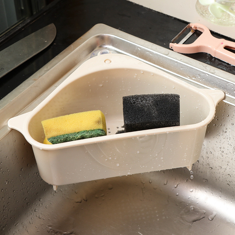 Multifunctional Household Sink Suction Rack Kitchen Triangle Rack Drain Rack Scouring Pad Sponge Bracket Beige