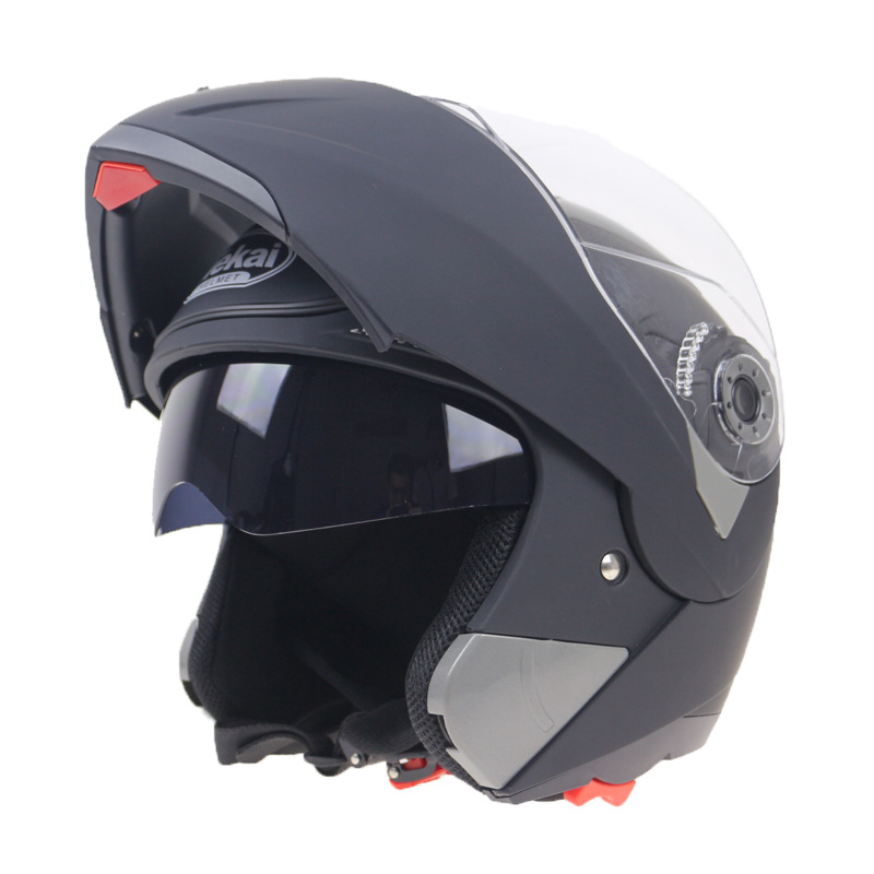 Motorcycle Helmets Flip Up Double Visors Racing Full Face Helmet Matte black L