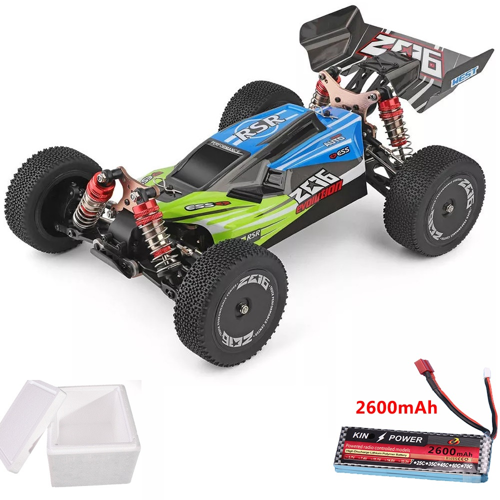 Wltoys 144001 1/14 2.4G 4WD High Speed Racing RC Car Vehicle Models 60km/h upgrade battery 7.4V 2600mAh green