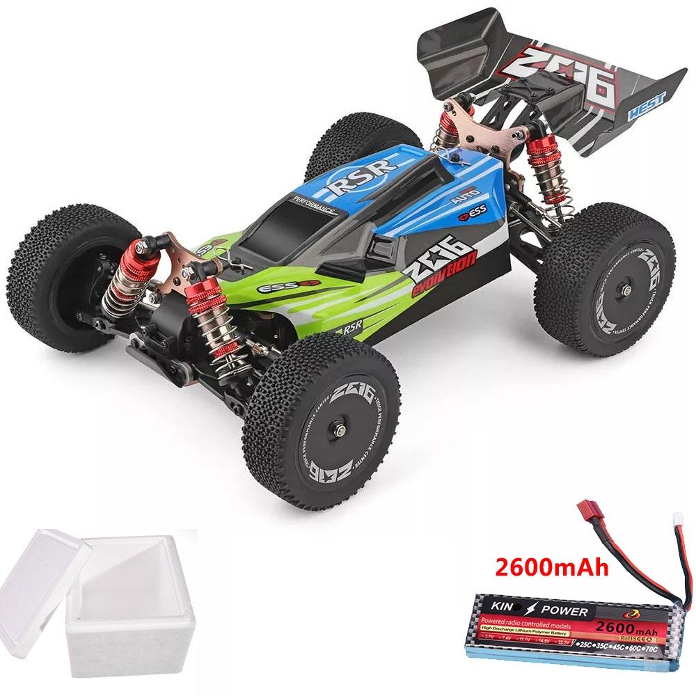 Wltoys 144001 1/14 2.4G 4WD High Speed Racing RC Car Vehicle Models 60km/h upgrade battery 7.4V 2600mAh green
