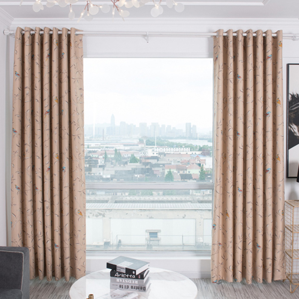 Shading Window Curtain with Bird Tree Pattern for Home Bedroom Balcony Decor Beige_1 * 2.5m high punch