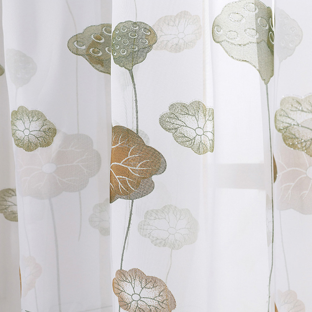 Lotus Leaf Printing Tulle Curtain for Modern Living Room Balcony Shading Decor 2 * 2.7 meters high