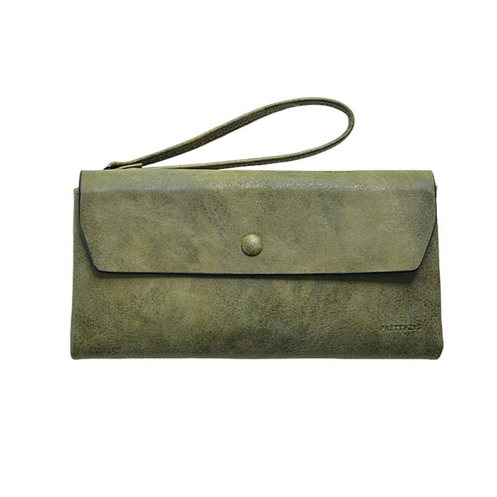 Women Fashion PU Leather Trifold Purse Portable Zipper Buckle Long Handbag with Rope