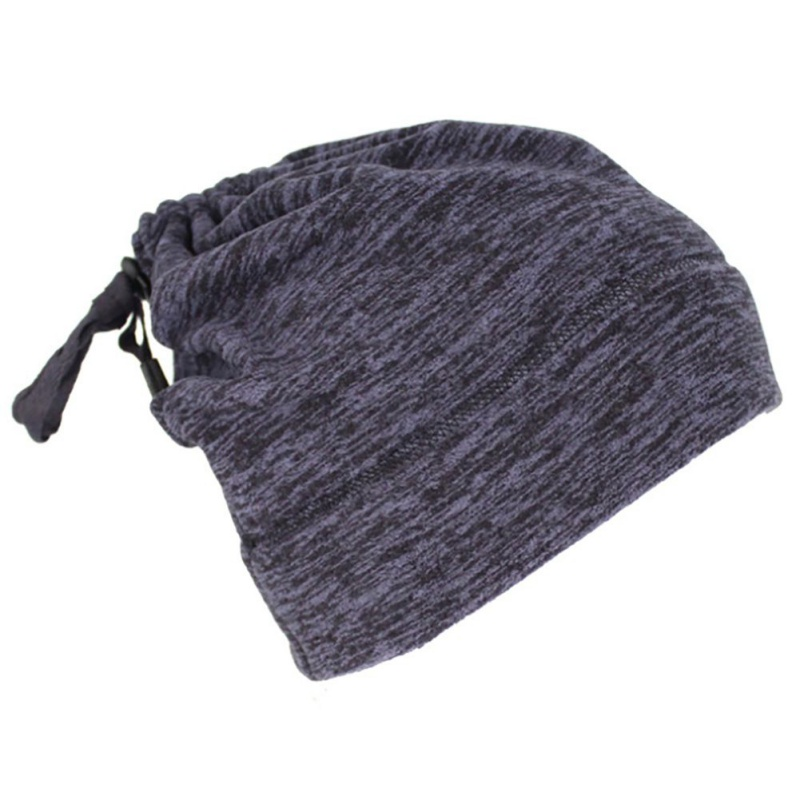 Warmful Scarf Hat Dual Purpose Autumn Winter Scarf Collar O Ring Neckerchief Warm Neck Fleece Thickened Neck Scarf YL-WB-02 Navy_One size