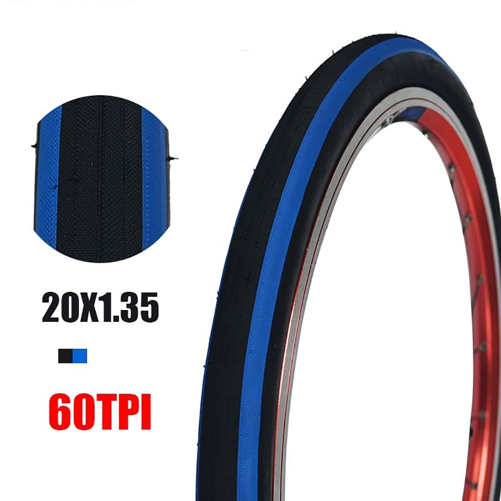 Anti Puncture Bicycle Tires 60TPI/14 16 Folding Tyres Road Bike Accessories 20 * 1.35 black and blue tires