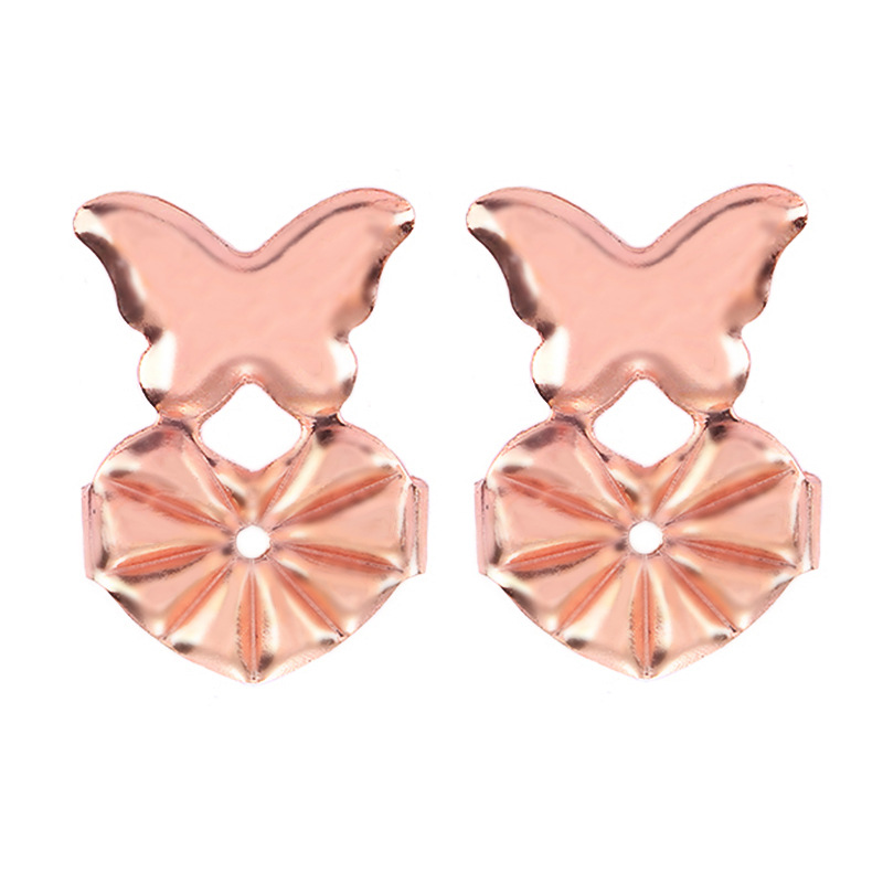 1 Pair Magic Earring Back Earrings Lifters Hypoallergenic Fit All Earring Jewelry butterfly rose gold
