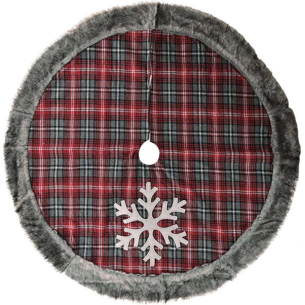 Snowflake Plaid Faux Fur Edging Tree Skirt Tree Bottom Decorative Cloth Christmas Decoration Snowflake plaid faux fur edging tree skirt