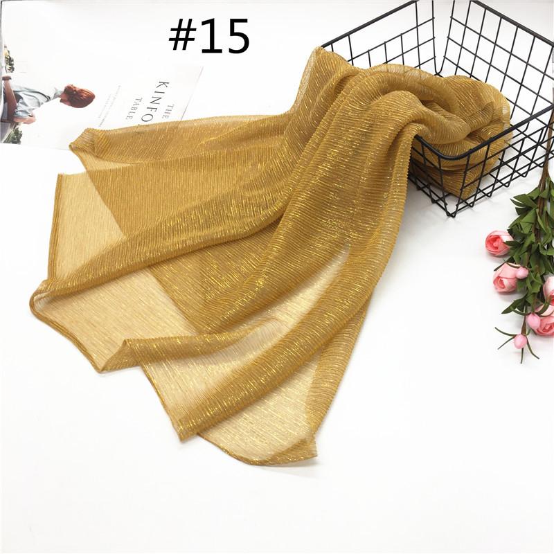 Women Pleat Solid Color Thin Gauze Scarf Muslim Shawl 15#_180cm
