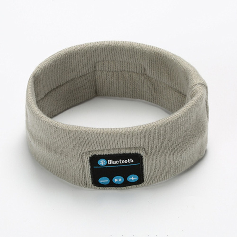 V5.0 Knit Hair Band Bluetooth Ourdoor Running Fitness Sport Music Call Knitting Headwrap gray
