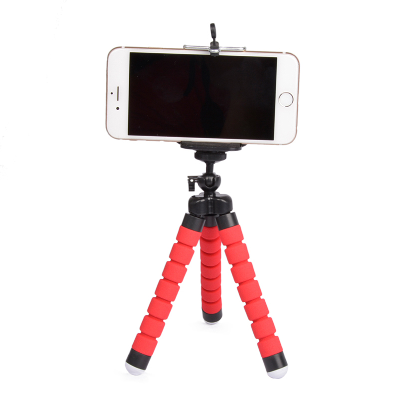 Flexible Portable Adjustable Tripod Mini Universal Octopus Leg Style Bluetooth Selfie Stick  red_With Bluetooth remote control
