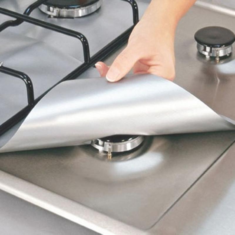 4PCS Reusable Aluminum Foil Gas Stove Burner Cover Protector Liner Clean Mat Pad