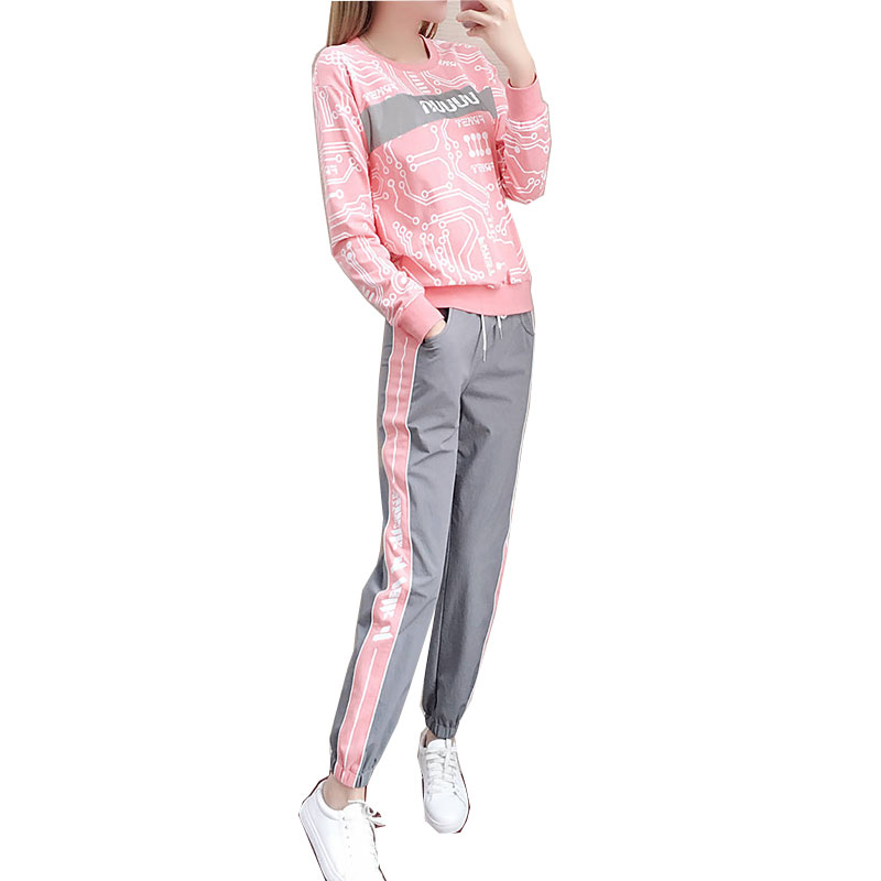 Women's Suit Autumn and Winter Casual Loose Sports Long-sleeved Top+ Trousers Pink_L