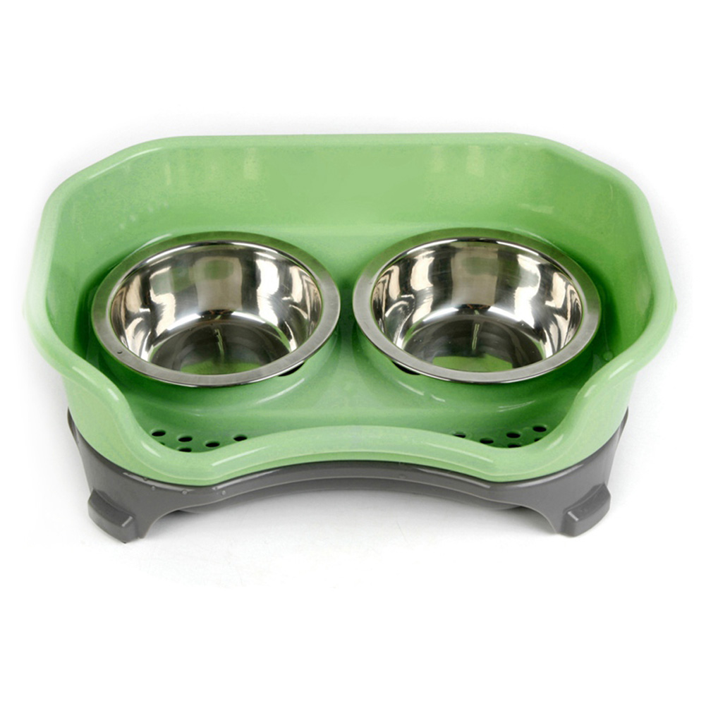 Stainless Steel Double Bowl Baffle Anti-Sliding Dishes for Pet Dog Cat green_32.5 * 22 * 12