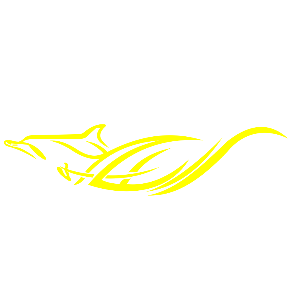 2pcs Car Stickers Dolphins Totem Auto Body Vinyl Long Decals Waterproof Striped Stickers Auto DIY Style Car Stickers yellow