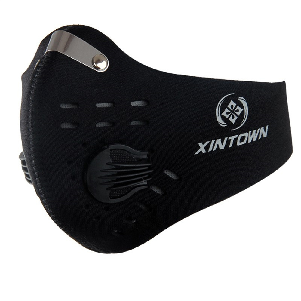 Cycling  Mask Breathable Dust-proof Anti-haze Activated Carbon Filter For Outdoor Sports Solid black_One size
