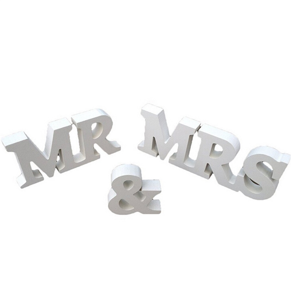 White Mr and Mrs Letters Sign Wooden Standing Table Prop Wedding Decoration Supply