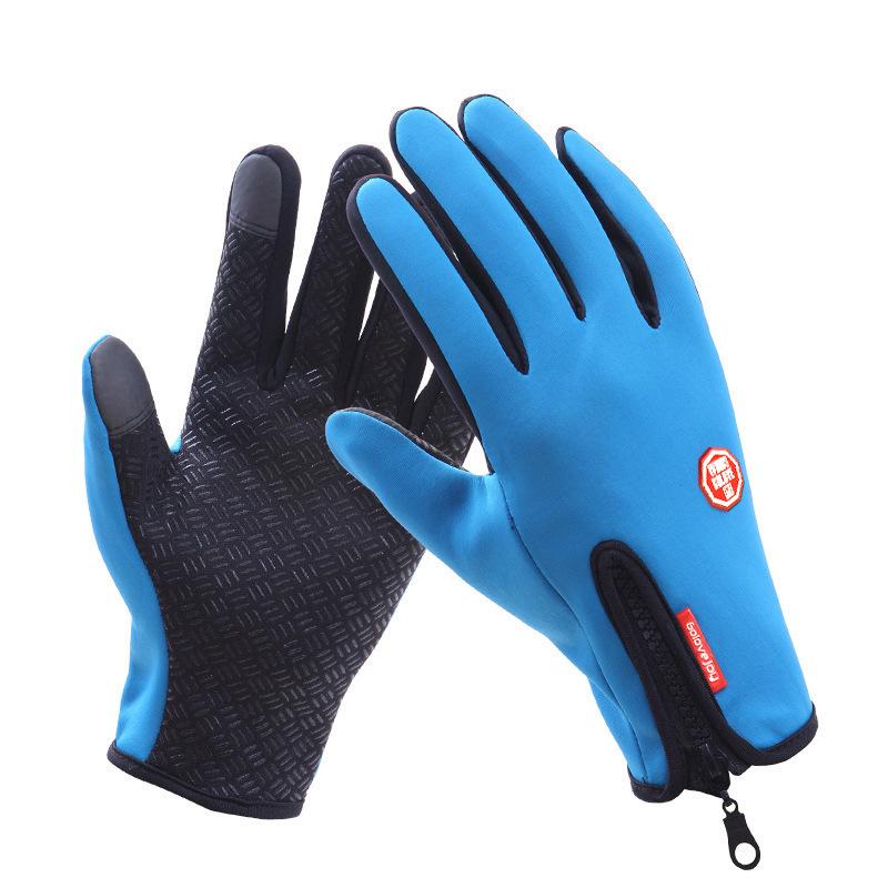 Touch Screen Full Finger Winter Sport Windstopper Ski Gloves Warm Riding Glove Motorcycle Gloves  blue_XL