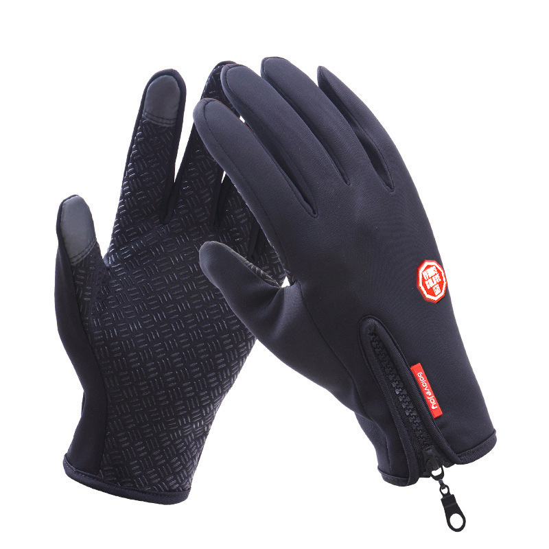 Touch Screen Full Finger Winter Sport Windstopper Ski Gloves Warm Riding Glove Motorcycle Gloves  black_L