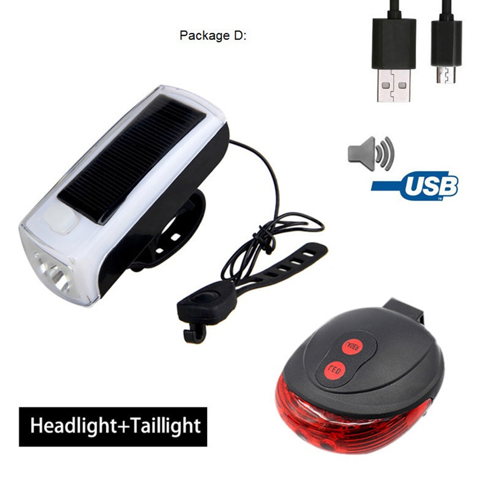 4LED Bike Cycling Front Light Solar Power USB Charging Lamp Rechargeable Horns Cycle Headlight Speaker Bicycle Light 4LED headlight speaker + laser tail light
