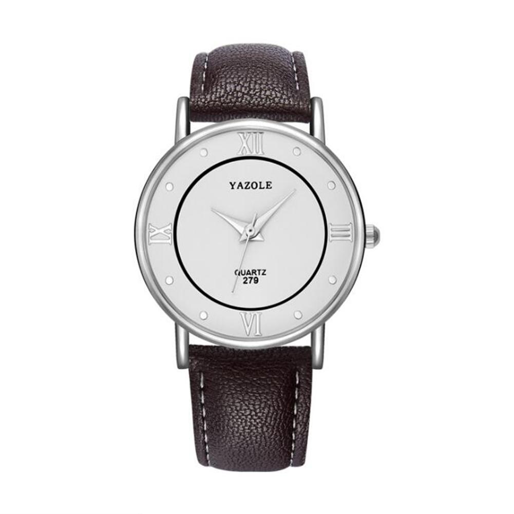 Lovers Business Fashion Leisure Simple Type Quartz Wristwatch large white dial brown belt