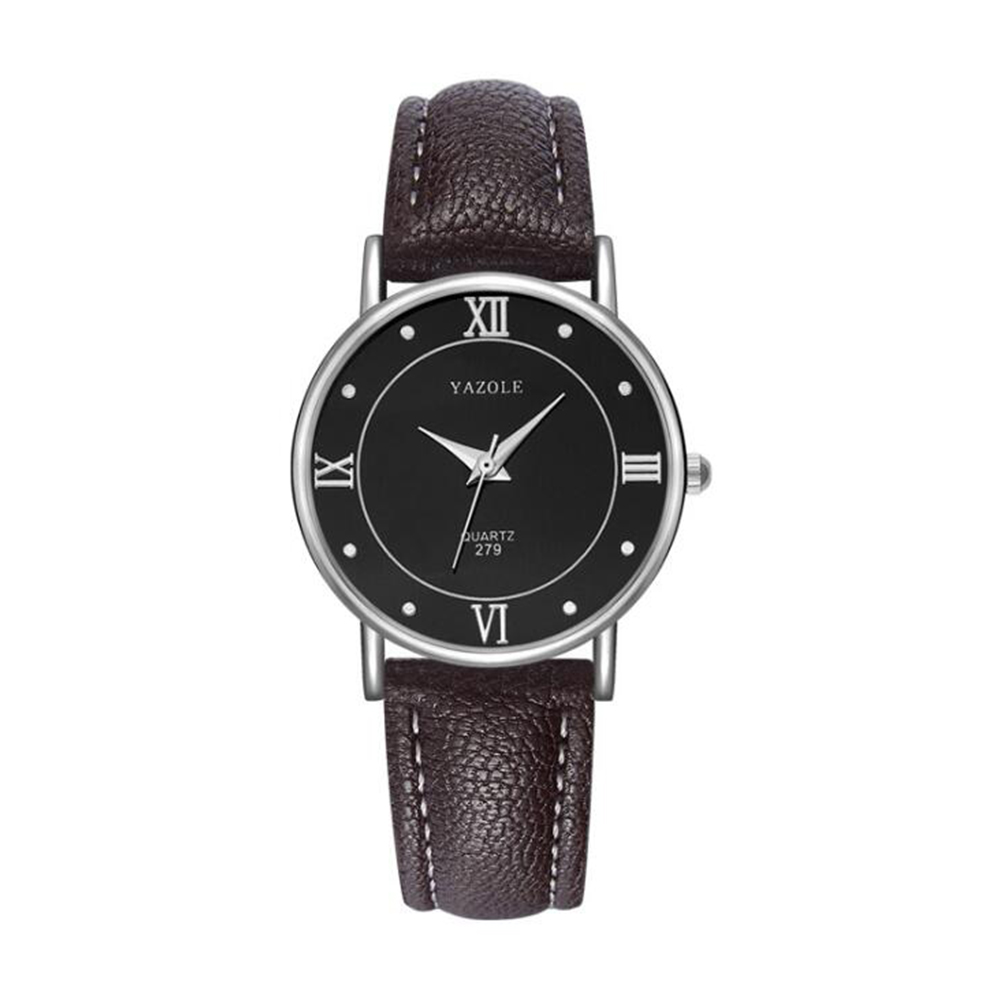 Lovers Business Fashion Leisure Simple Type Quartz Wristwatch small black dial brown belt