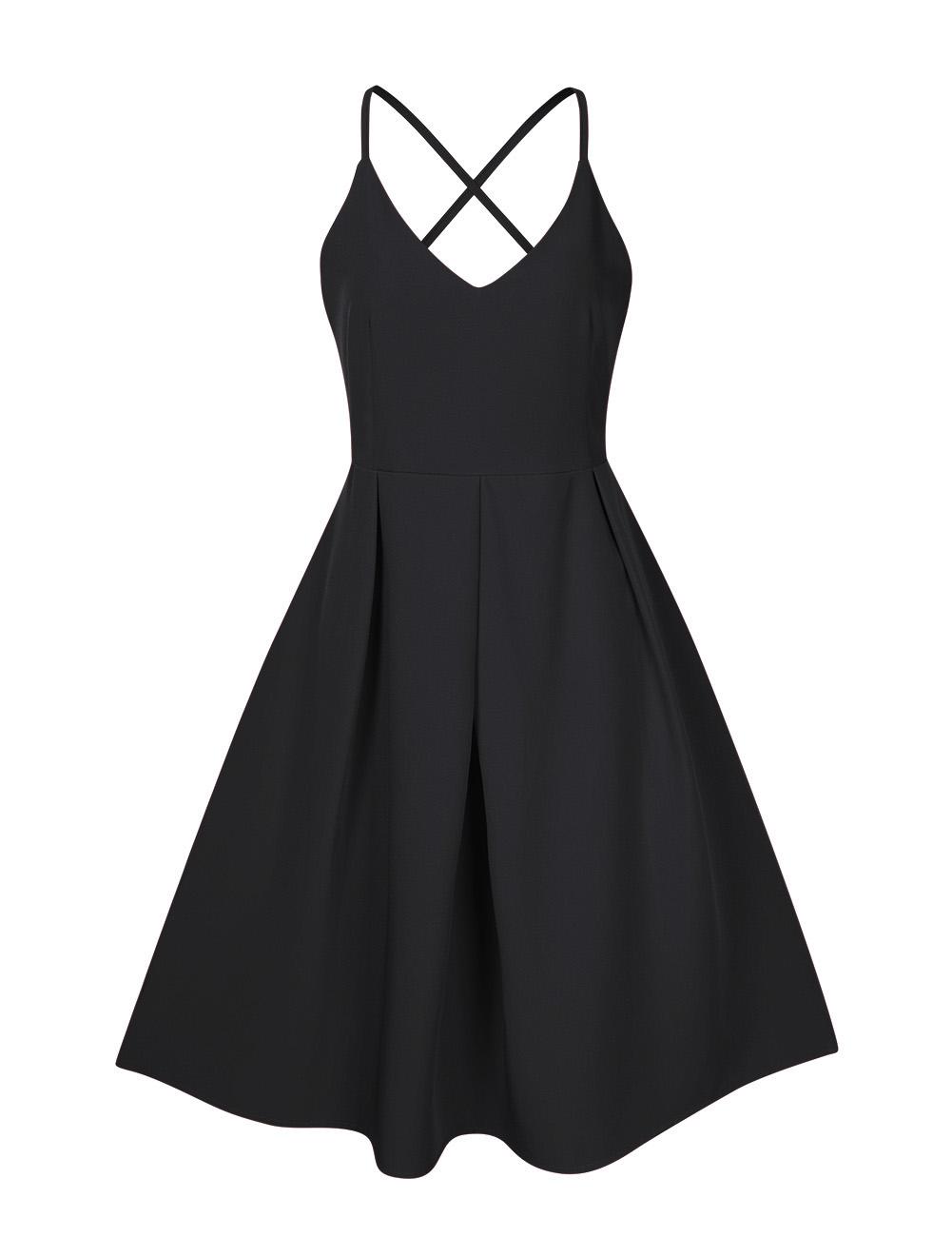 GlorySunshine Women Deep V-Neck Spaghetti Strap Dress Sleeveless Sexy Summer Cocktail Party Dresses Black_S