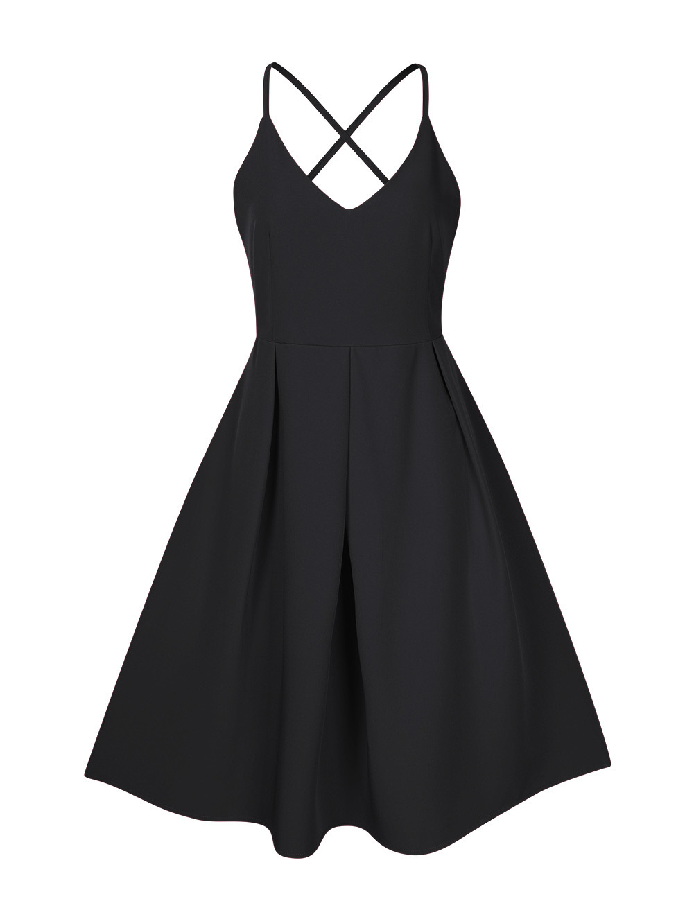 GlorySunshine Women Deep V-Neck Spaghetti Strap Dress Sleeveless Sexy Summer Cocktail Party Dresses Black_M