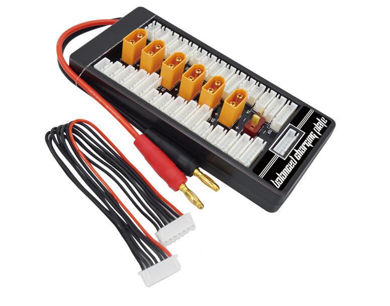 HotRc 2S-6S XT60 Plug Parallel Charging Board Para Board XT60 Plug 4.0MM Bananer for Imax B6 B6AC B8 6 in 1 Bananer wire
