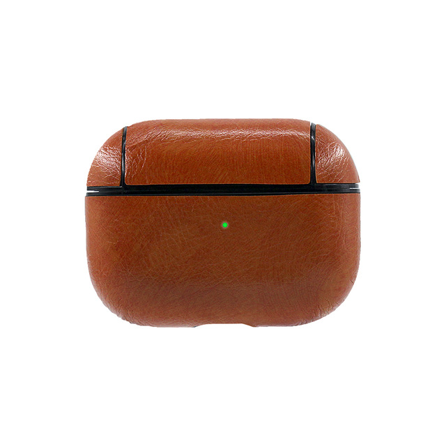 Earphone Protective Case for AirPods Pro Smooth Surface Dustproof 360° Full Protection Headset Leather Storage Bag brown