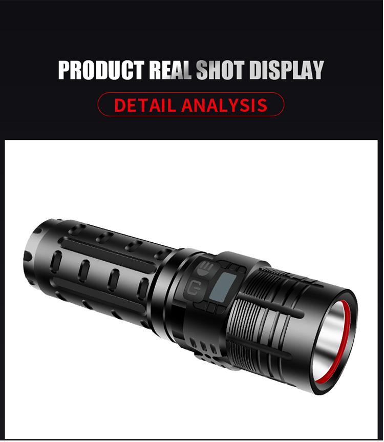 XHP 70 LED Flashlight USB Rechargeable Torch 3 Modes Adjustable Handheld Light black_Model W77-P70