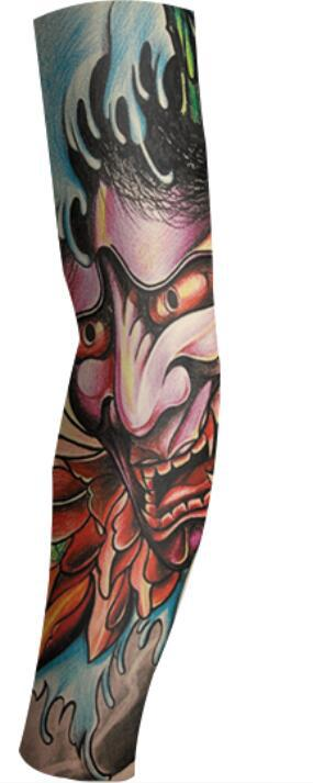 Halloween Props Sleeves Tattoo Sleeves Sunscreen UV Protection Cooling Outdoor Sports Riding Elastic Nylon Sleeves Single price (95)_One size