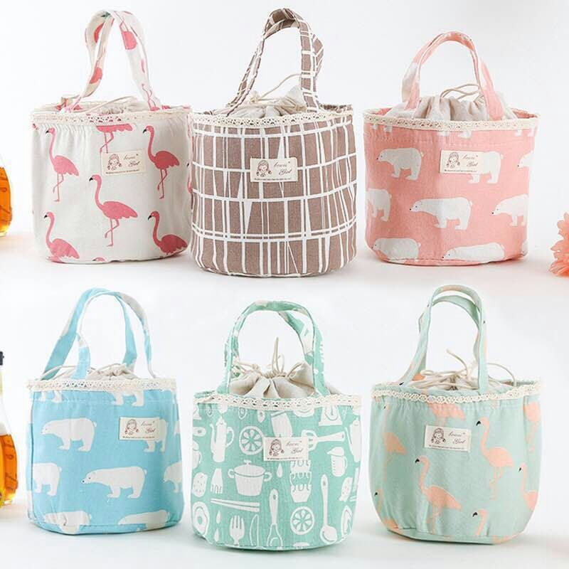 Outdoor Handheld Heat Preservation Lunch Bag Fashion Pattern Printing Package  Pink polar bear