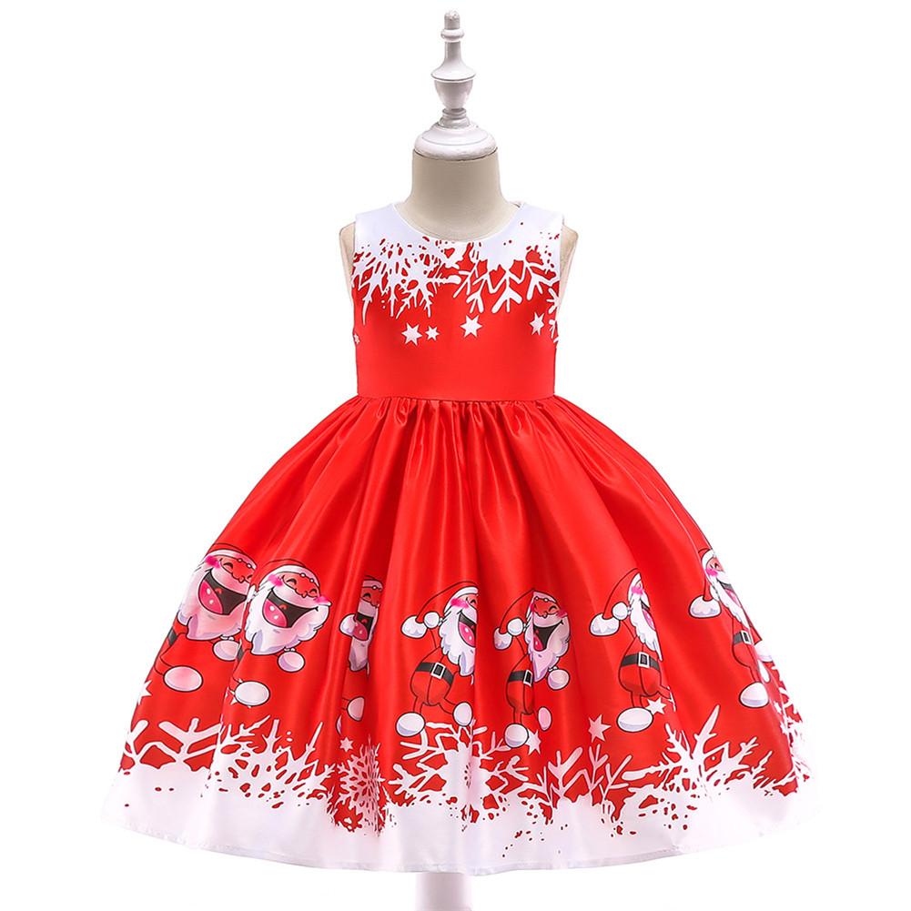 Girls Dress Christmas Short-sleeve Printed Satin Dress for 3-9 Years Old Kids SD036B-red_130cm